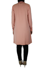 light pink modest long sleeved dress shirt with pockets and a collar