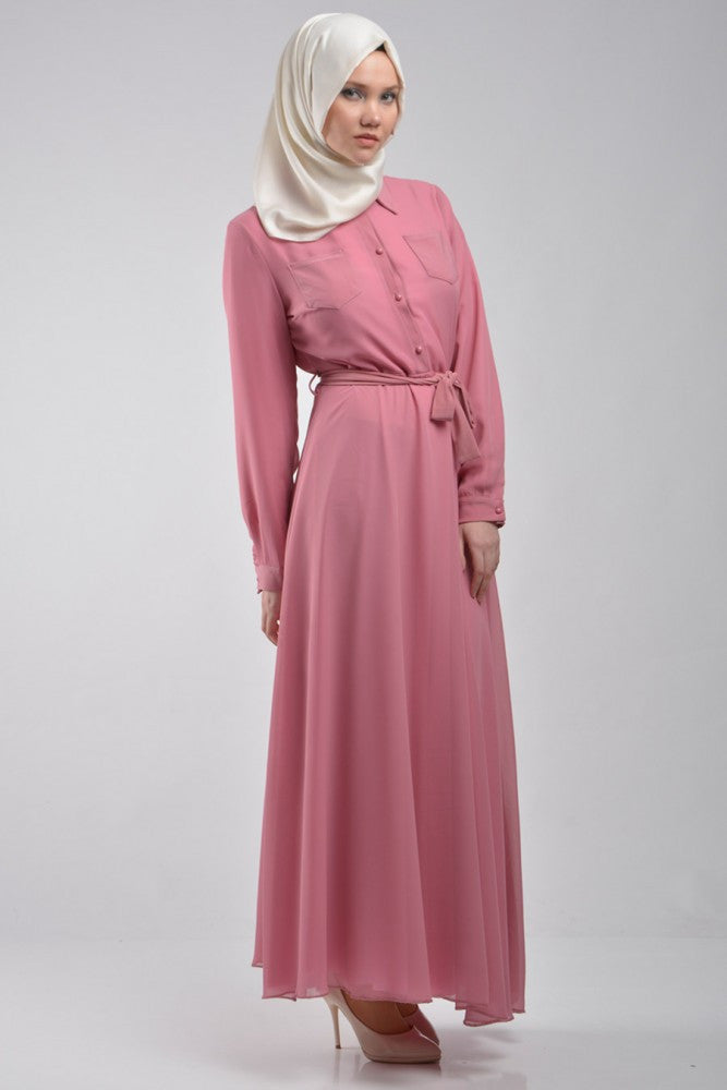 Rose Dress with Front Pockets