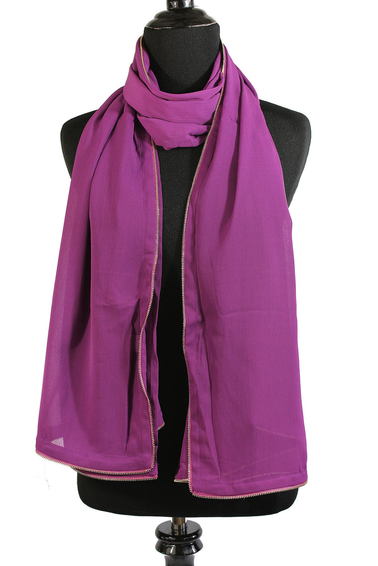 Chiffon Zipper Trim Hijab - Purple