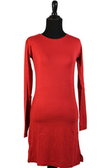 Extra Long Sleeve Basic Top - Red