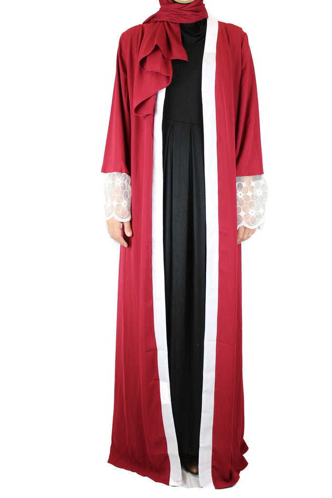 Lace Sleeve Open Abaya - Red (Magnolia Floral Lace)