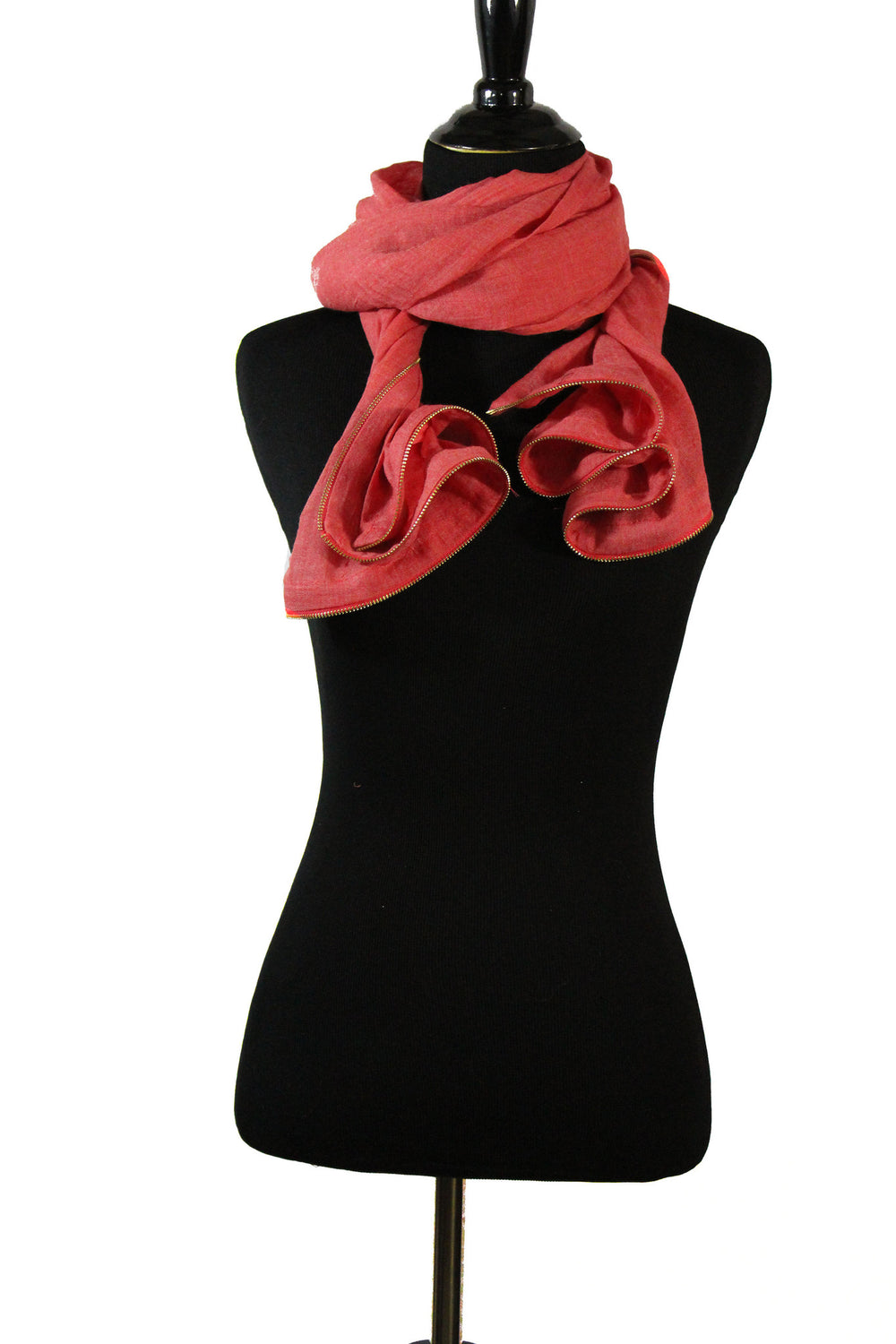 Viscose Zipper Trim Hijab - Rose