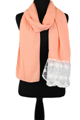 georgette hijab in salmon with lace on one end