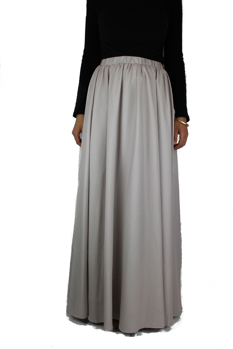 High-Waisted Maxi Skirt - Silver