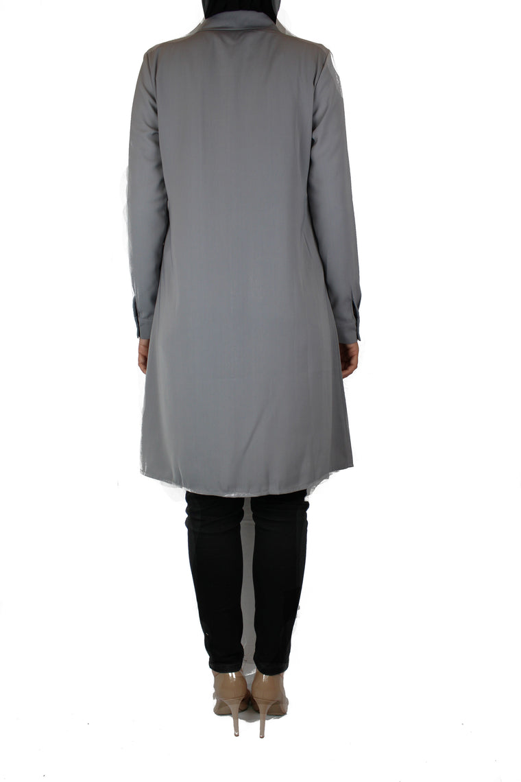 silver modest long sleeved dress shirt with pockets and a collar