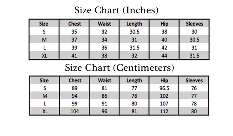 size chart for bella hijabs