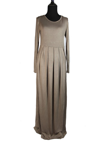 tan long sleeve a line maxi dress in stretchy jersey material
