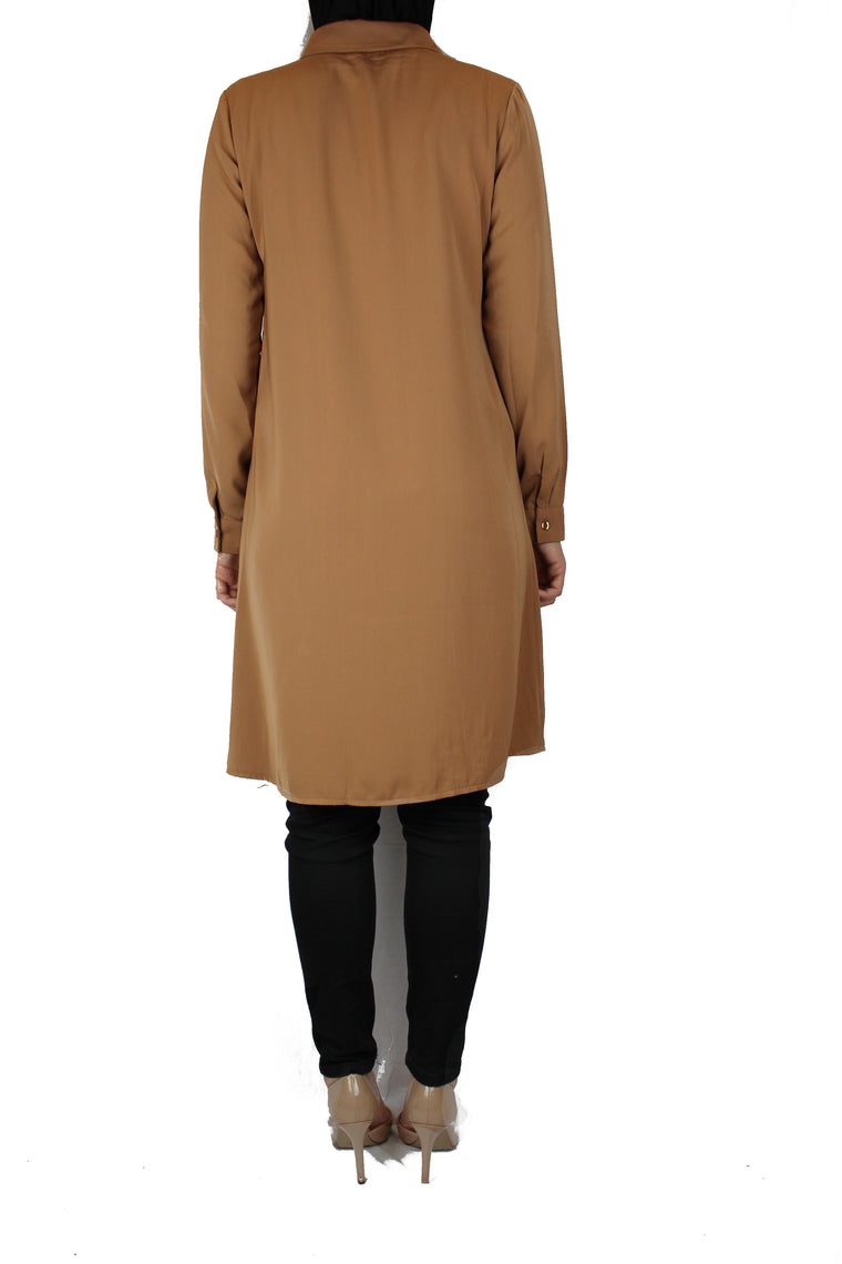 mocha modest long sleeved dress shirt with pockets and a collar
