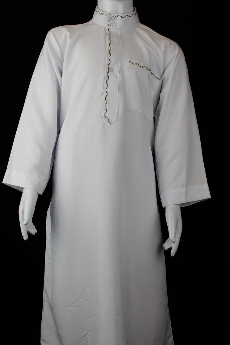 white boy's jilbab with a collar and embroidery