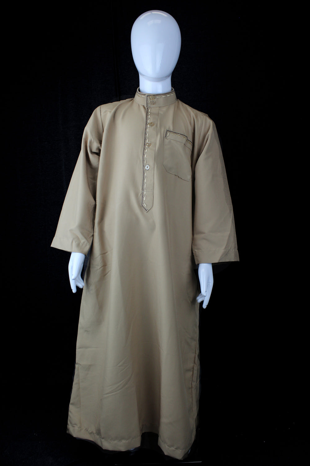 tan boy's jilbab with a collar and embroidery