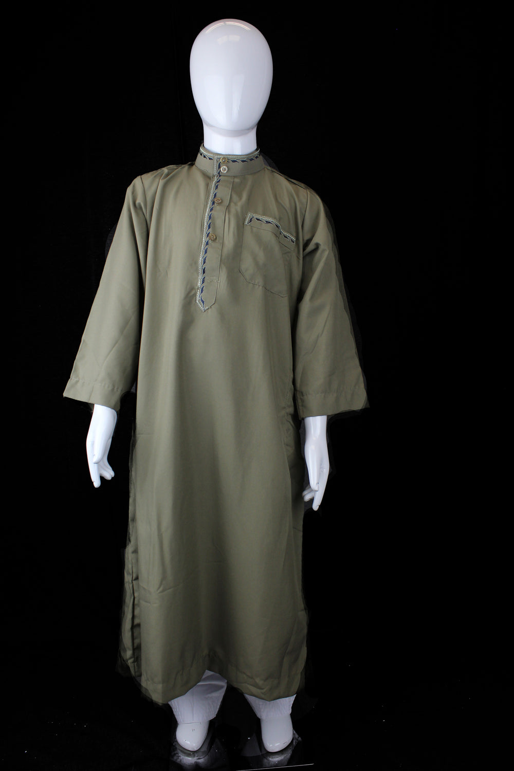 olive boy's jilbab with a collar and embroidery