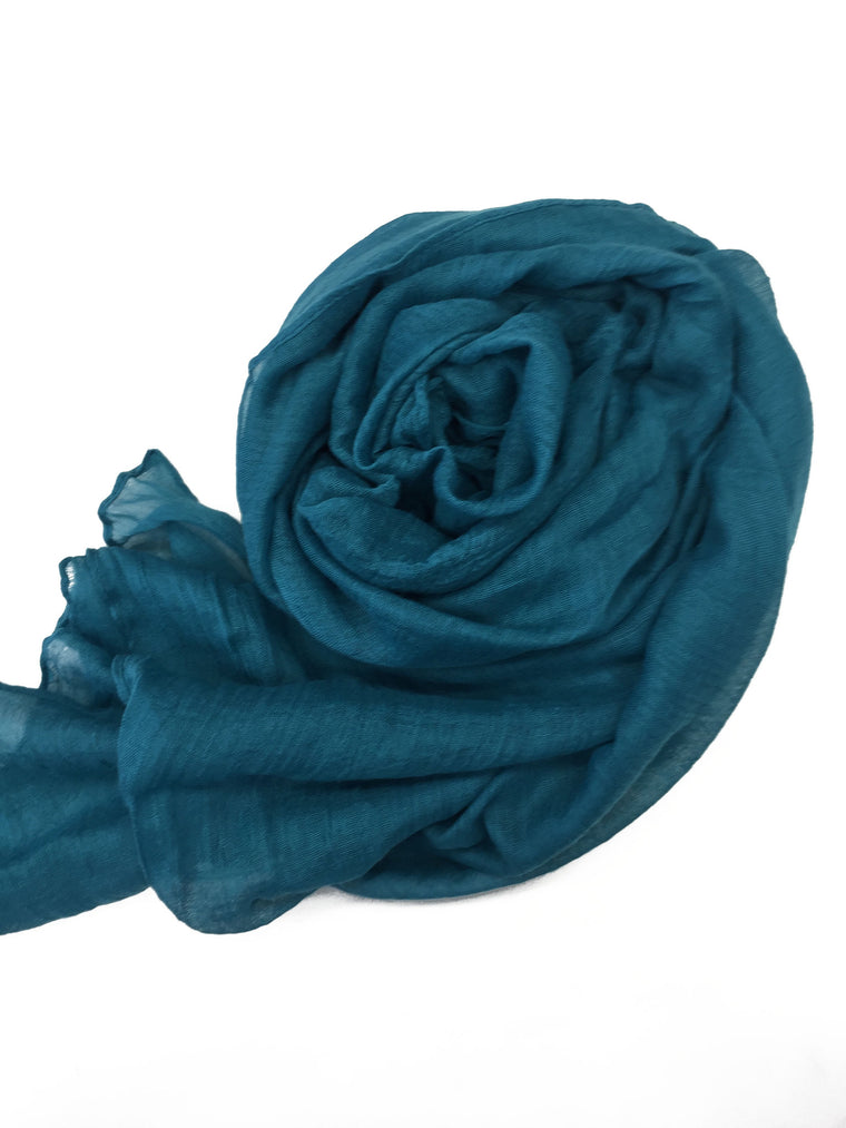 Crinkle Cotton Hijab - Turquoise