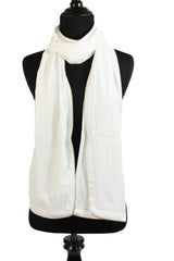 Chiffon Zipper Trim Hijab - White