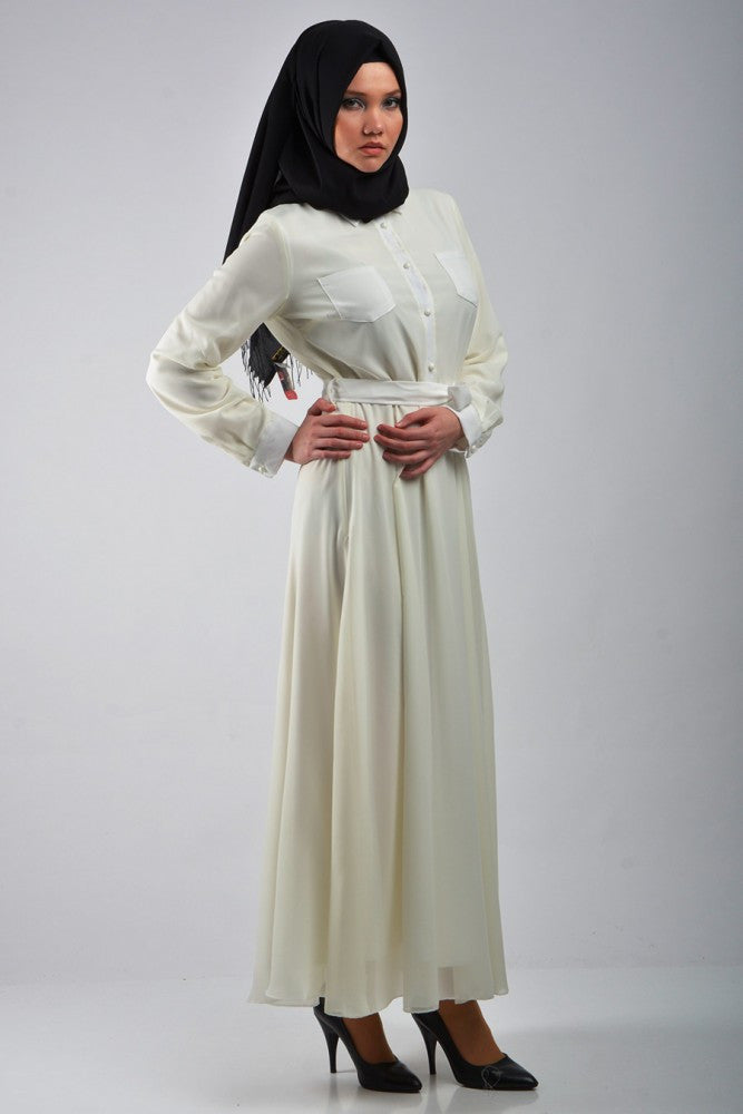 Milk White Dress with Front Pockets