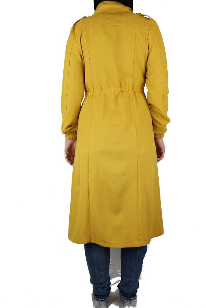 long sleeved mustard maxi cardigan with pockets and a waist tie
