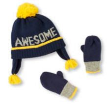Boys 'Awesome' Knit Pom Pom Hat And Mittens Set