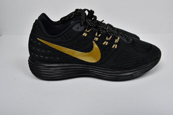 Nike ID LunarTempo 2 sneakers black and gold Sz 7
