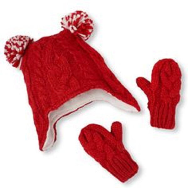 Girls Red Ruby Hat and Mittens set The Children's Place