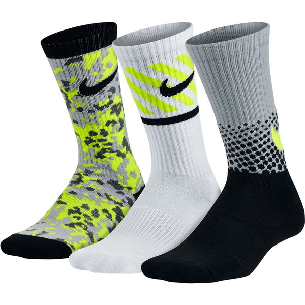 Nike Big Boys' Performance Cotton Cushioned Crew Socks 3 Pack (Blk/Gry/Cyber)