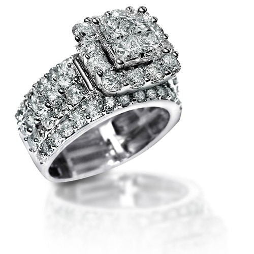 New 2.2 Ct Stunning Zirconia Solid 925 Sterling Silver Halo Wedding Ring Elegant Jewelry For Women