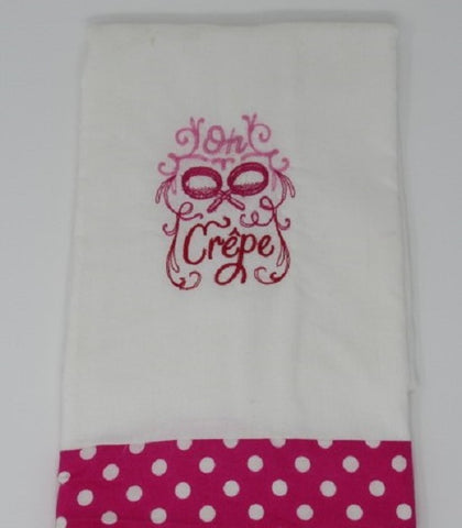 "Kitchen Sass Collection:  ""Oh Crepe"" Embroidered Kitchen Towel  In Hot Pink Polka Dot"