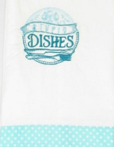 "Kitchen Sass Collection: ""Stupid Dishes "" Embroidered Kitchen Towel  In Teal Blue Polka Dot"