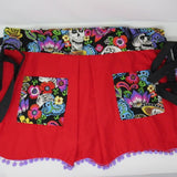 Retro Inspired Cherry Red Sugar Skull Sweetheart  Apron