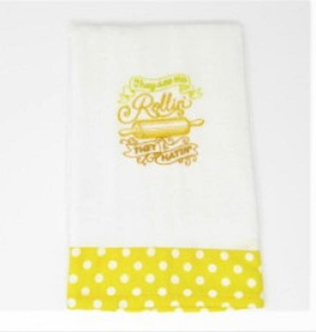 "Kitchen Sass Collection:  ""They see me Rollin,  they Hatin"" Embroidered Kitchen Towel  In Lemon Polka Dot"