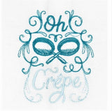 "Kitchen Sass Collection: ""oh Crepe"" Embroidered Kitchen Towel  In Teal Blue Polka Dot"