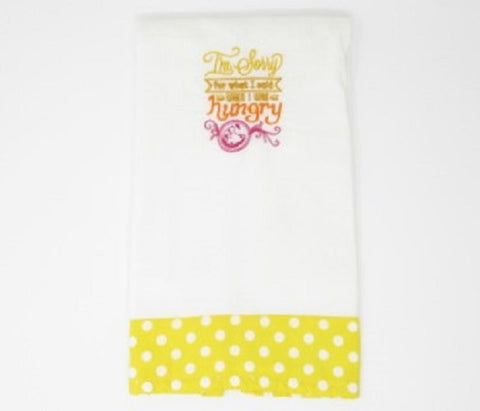 "Kitchen Sass Collection:  ""I'm Sorry for what I said when I was Hungry"" Embroidered Kitchen Towel  In Yellow Polka Dot"