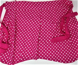 """Bakers Gonna Bake""/""Oh Crepe""  Reversible Embroidered Apron with Hot Pink Polka Dot"
