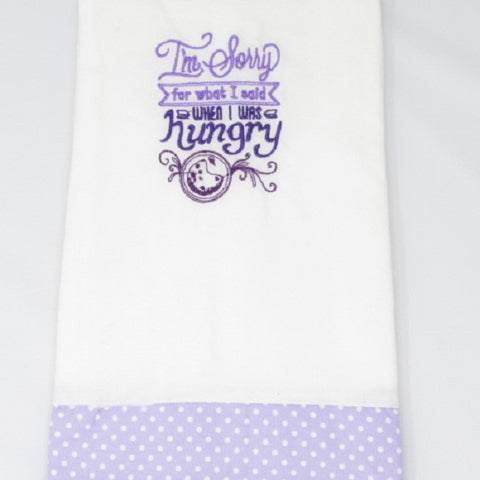 "Kitchen Sass Collection:  ""I'm  Sorry  for what I said when I was Hungry"" Embroidered Kitchen Towel  In Lilac Polka Dot"