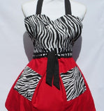 Retro Inspired Cherry Red Zebra Full Length Apron