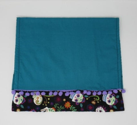 Bright Teal Sugar Skull Terry Cloth Kitchen Towel with pom poms