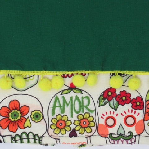 Bright Green Sugar Skull Kitchen Towel with Pom Poms