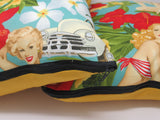 Decorative Retro Inspired pin up Hawaiian Aloha Girls Throw Pillow