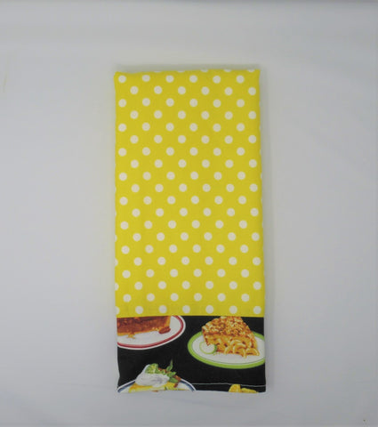 Bright Yellow Polka Dot Diner Pie Terry Cloth Kitchen Towel