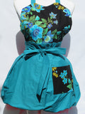 Retro Inspired Teal Peacock Sweetheart  Apron