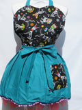 Retro Inspired Teal Sugar Skull Pups Sweetheart  Apron