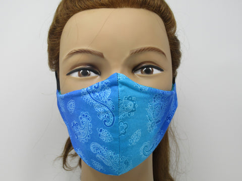 Teal Paisley Reversible Face Mask