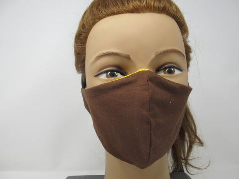 Brown and Sunshine Yellow Reversible Face Mask