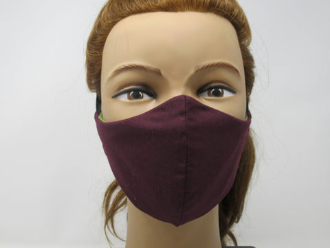 Plum and Sage Green Reversible Face Mask