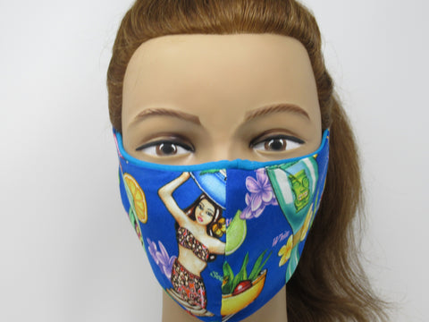 Tiki Cocktail Large Full Coverage Reversible Face Mask