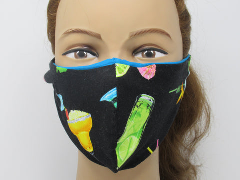 Vibrant Cocktail Large Full Coverage Reversible Face Mask