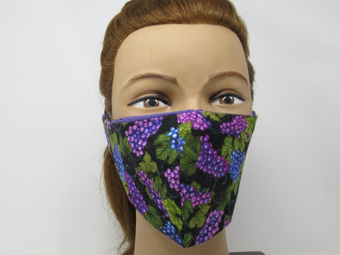 Purple Grapes Large Full Coverage Reversible Face Mask