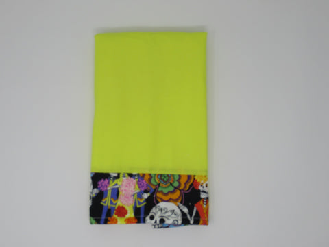 Bright Yellow Sugar Skull Fiesta Terry Cloth Kitchen Towel