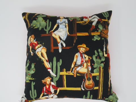 Decorative Retro Inspired Cowgirl Throw Pillow