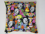 Decorative Pillow Sunshine Yellow Sugar Skull, Dia de Los Muertos