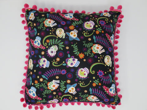 Decrative Pillow Purple Sugar Skull, Dia de los Muertos