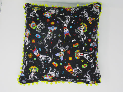 Decorative Pillow  Sugar Skull Dogs, Dia de Los Muertos with Yellow Pom-Poms